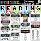 Journeys 4th Grade Reading Focus Wall Set + Newsletters {BRIGHT COLORS}