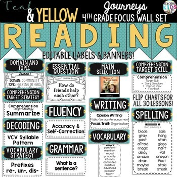 Journeys 4th Grade Reading Focus Wall Set {TEAL & YELLOW}