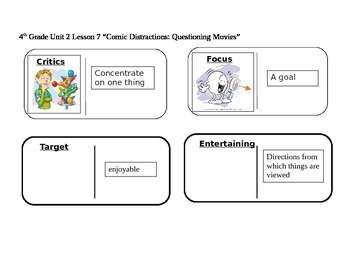 """Journeys 4th Grade Reading Series Vocabulary Dominoes """"Coming Distractions:..."""""""
