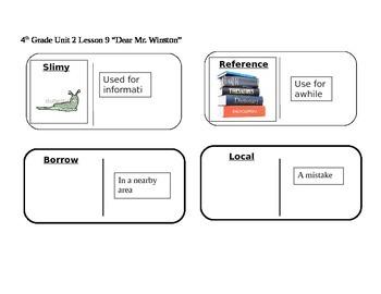 """Journeys 4th Grade Reading Series Vocabulary Dominoes """"Dear Mr. Winston"""""""