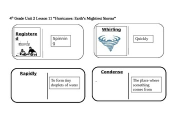 """Journeys 4th Grade Reading Series Vocabulary Dominoes """"Hurricanes: Earth's..."""
