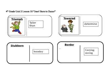 "Journeys 4th Grade Reading Series Vocabulary Dominoes ""Jose! Born to Dance"""
