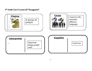 "Journeys 4th Grade Reading Series Vocabulary Dominoes ""Sacagawea"""