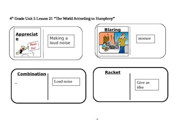 """Journeys 4th Grade Reading Series Vocabulary Dominoes """"The World According to..."""