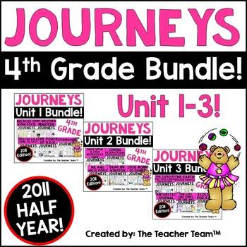 Journeys 4th Grade Unit 1-3 Half Year Bundle Supplemental Materials 2011