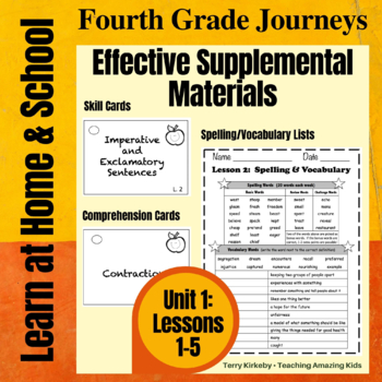 Journeys 4th Grade - Unit 1 Student Study Guides & Activities for Lessons 1-5