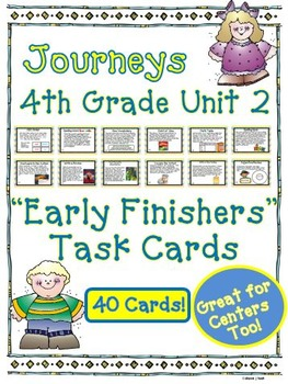 Journeys 4th Grade Unit 2 Early Finishers Task Cards 2011