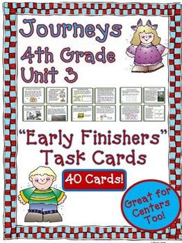 Journeys 4th Grade Unit 3 Task Cards Supplemental Materials 2011