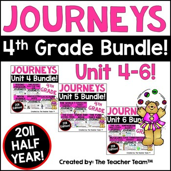 Journeys 4th Grade Unit 4-5-6 Half Year Bundle Supplementa