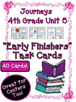 Journeys 4th Grade Unit 5 Task Cards Supplemental Materials 2011
