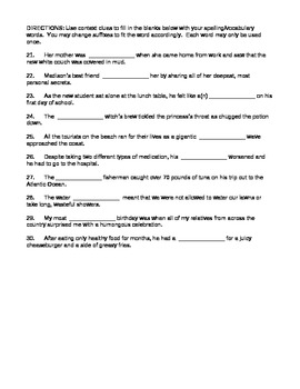Journeys 4th Grade Vocabulary Test, Word List for Stormalong (Editable)