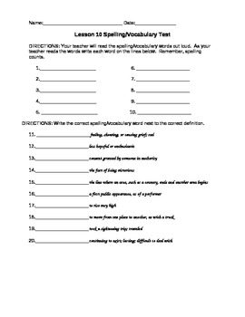 Journeys 4th Grade Vocabulary Test, Word List for Jose! Born to Dance Editable)