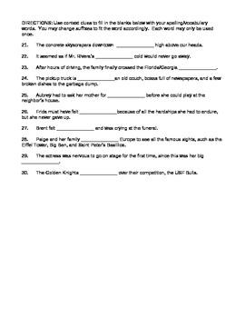 Journeys 4th Grade Vocabulary Test, Word List for Jose! Born to Dance Editable)