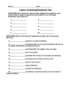 Journeys 4th Grade Vocabulary Test, Word List for Riding Freedom (Editable)