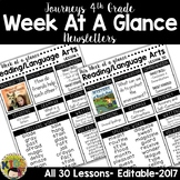 Journeys 4th Grade Week At A Glance Newsletter Editable
