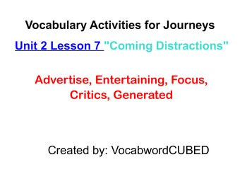 """Journey's 4th grade Unit 2, Lesson 7 """"Coming Distractions""""- Interactive Vocab"""
