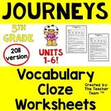 Journeys 5th Grade Cloze Worksheets Unit 1 - Unit 6 Printables | 2011