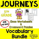 Journeys 5th Grade Cloze Worksheets and Crosswords Full Year Bundle 2011
