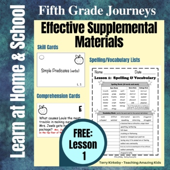 Journeys 5th Grade - Free Student Study Guide Activities for Lesson 1