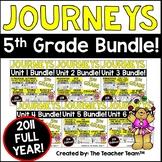 Journeys 5th Grade Unit 1 - Unit 6  Printables Year Bundle   2011