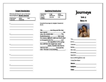 Journeys 5th Grade Trifold (A Surprise Reunion)
