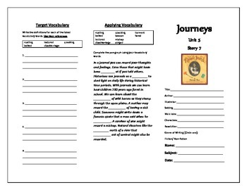 Journeys 5th Grade Trifold (Rachel's Journal)