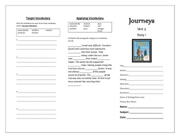 Journeys 5th Grade Trifold (Tuckets Travels)