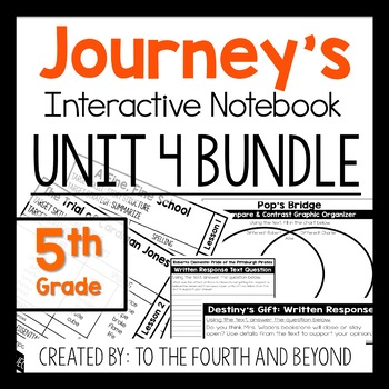 Journeys 5th Grade UNIT 4 BUNDLE Less Cutting Interactive Notebook