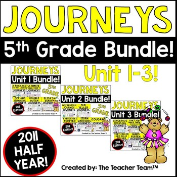 Journeys 5th Grade Unit 1-3 Half Year Supplemental Activities - Printables 2011