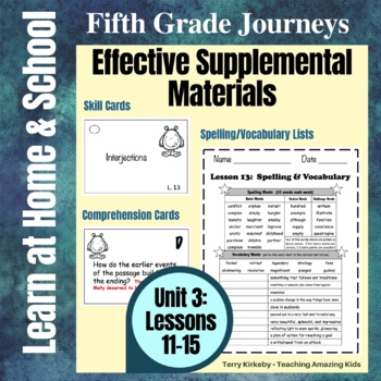 Journeys 5th Grade - Unit 3 Student Study Guides & Activities for Lessons 11-15