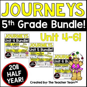 Journeys 5th Grade Unit 4-6 Half Year Bundle Supplemental Materials 2011