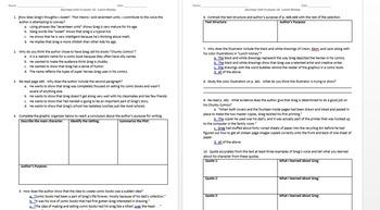 Journeys 5th Grade Unit 4 Reading Comprehension & Skills Worksheet + Vocabulary
