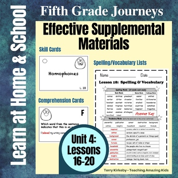 Journeys 5th Grade - Unit 4 Student Study Guides & Activities for Lessons 16-20