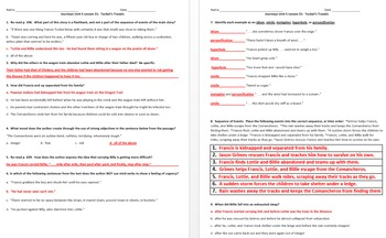 Journeys 5th Grade Unit 5 Reading Comprehension & Skills Worksheet + Vocabulary