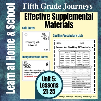 Journeys 5th Grade - Unit 5 Student Study Guides & Activities for Lessons 21-25
