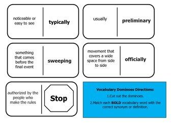 Journey's 5th Grade Vocabulary Dominoes Elisa's Diary