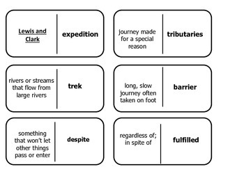 Journey's 5th Grade Vocabulary Dominoes Lewis and Clark