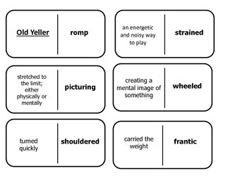 Journey's 5th Grade Vocabulary Dominoes Old Yeller