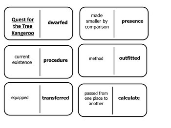 Journey's 5th Grade Vocabulary Dominoes Quest for the Tree Kangaroo