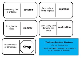 Journey's 5th Grade Vocabulary Dominoes Storm Warriors
