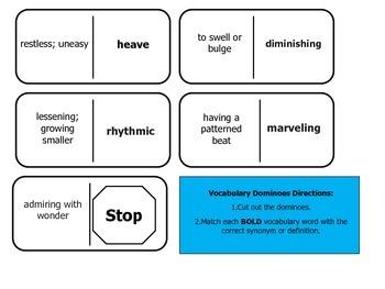 Journey's 5th Grade Vocabulary Dominoes The Black Stallion