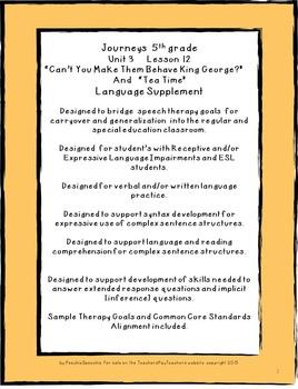 "Journeys 5th grade U3 L12  ""King George"" supplementals for the SLP"