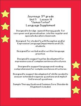 "Journeys 5th grade U3  L14 ""James Forten"" supplementals for the SLP"