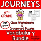 Journeys 6th Grade Cloze - Crossword Puzzles Units 1-6 2017 Full Year Bundle