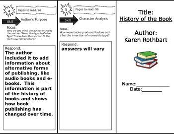 Journeys 6th Grade Common Core~ HIstory of the Book Trifold Close Read