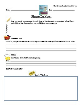 Journeys 6th Grade Common Core~The Myers Family  Please  Do Now