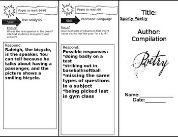 Journeys 6th Grade Common Core~ Sporty Poetry Trifold Close Read