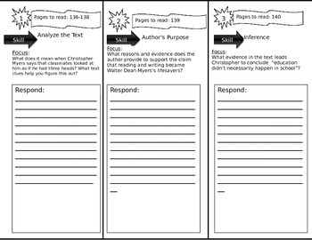Journeys 6th Grade Common Core~ The Myers Family Trifold Close Read