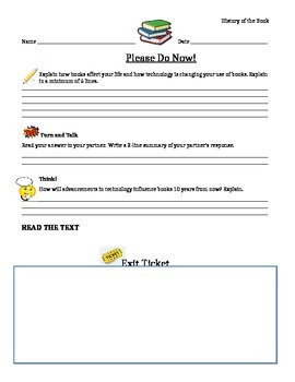 Journeys 6th Grade Common Core~History of  A Book Please  Do Now