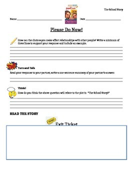 Journeys 6th Grade Common Core~The School Story Please Do Now Activity